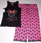 Minnie Mouse Disney Women's Pajama Top & Capri Pants Size Large or NWT