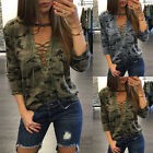 Women Blouse Lace up V Neck Fashion Casual Loose Long Sleeve T-Shirt Top