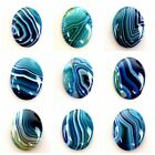 Wholesale 40x30x7mm Blue Stripes Onyx Agate Oval Cab Cabochon  W-CQ2