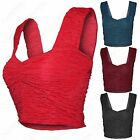 LADIES CRINKLE CROP TOP TEXTURED WOMENS SWEETHEART NECK SHORT STRAP RUCHED VEST