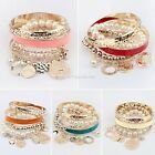 New Fashion Women Ladies Metal Pearl Bead Bangle Pearl Chain Bracelet EN03