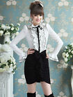 Ladies White multi layered Flounced Bow Bubble Long-sleeved Shirt Blouse Top