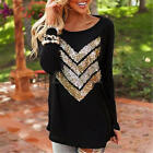 Fashion Ladies Women Sequin Print Long Sleeve Casual Loose T shirt Tops Blouse