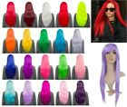 "LADIES PARTY HALLOWEEN 26"" LONG STRAIGHT BRIGHT NEON COLOURS FULL HEAD WIG"