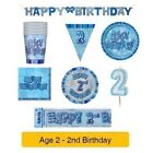 AGE 2 - Happy 2nd Birthday BLUE GLITZ - Party Balloons, Banners & Decorations