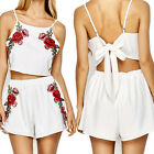 Two Women Shorts Hot Summer Piece Set Embroidery Floral Casual White Bowknot