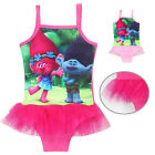 Kids Troll Poppy Swimsuit Girl Bikini Swimwear Summer Beach Swimming Dress F