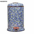 Top Grade Quiet Blue and White Porcelain Foot Pedal Dustbin Waste Bin Trash Cans