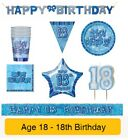 AGE 18 - Happy 18th Birthday BLUE GLITZ - Party Balloons, Banners & Decorations