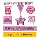 AGE 21 - Happy 21st Birthday PINK GLITZ - Party Banners, Balloons & Decorations