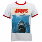 Authentic JAWS Distressed Movie Poster Ringer White Red T-Shirt S-2XL NEW