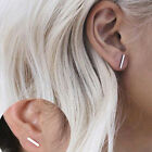 Simple Woman Long Bar Stud Earrings Gold or Sterling Silver Handmade Delicate