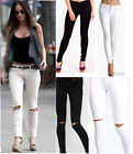New Womens Front & Back Skinny Stretch Floral Embroidered Knee Cut Denim Jeans