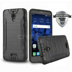 BRUSHED ARMOR HYBRID COVER PHONE CASE FOR [ALCATEL PIXI THEATRE] +TEMPERED GLASS
