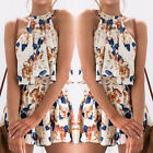 Women's Floral Print Crop Tops + Shorts Outfit Playsuit Romper Two Piece Sets