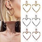 1 Pair Women Hoop Gold Double Heart Earrings Dangle Hollow Ear Studs