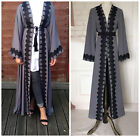 Dubia Style Women Open Front Abaya Jilbab Muslim Islamic Long Sleeve Maxi Dress