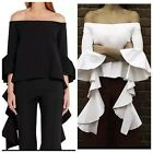 D8 Get The Look! Black Dramatic Waterfall Sleeve Off The Shoulder Blouse Top