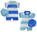 Baby Boys Striped Polo Romper & Cap Summer Outfit (0-3 Months)