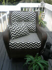 DEEP SEATING CHAIR CUSHION SET-SEAT & BACK-BLACK ZIG ZAG-CHOOSE SIZE-FREE PILLOW