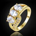 Womens White Topaz Three-Stone 18K Gold Filled Wedding Bridal Rings Size 6-9