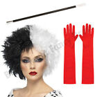 CRUELLA DEVILLE DE VILLE FANCY DRESS COSTUME WIG CIGARETTE HOLDER GLOVES LOT