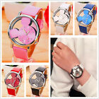 Cute Mickey Mouse Hollow Out Leather Crystal Quartz Watch Kids Wrist Watches
