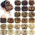 Drawstring Combs Wavy Curly Buns Clip In On Hair Extensions Synthetic Hairpieces