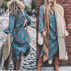 Boho Womens Casual Beach Floral Long Sleeve Loose Maxi Dress Tie V-neck Skirt