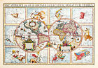 1615 Double Hemispherical Map Of The World Zodiac Signs Astrology Wall Poster