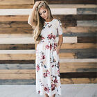 New Women Floral Print Empire Waist Short Sleeve Beach Maxi Boho Vestdois Dress