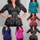 Plus Size Fashion Womens V-Neck Tops 3/4 Short Sleeve Lace T-Shirt Casual Blouse