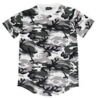 Men's CamouflageT-Shirt Extended Basic Casual Hip Hop Crew Elongated Shirts Tee