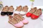 Kids/Girls Party Ankle Studded Sandals/Rivet /Red Shoes/ Flat Top Chic Leather