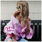D12 Berry Pink Puff Ruffle Sleeve Wrap Tie Off The Shoulder Deep V Blouse Top
