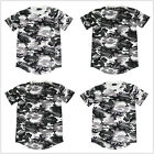 Men Camouflage Short Sleeve T-Shirt Extended Basic Casual Hip Hop Crew Elongated