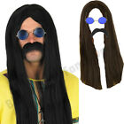 MENS HIPPY HIPPIE LONG WIG SUNGLASSES TASH 1970S FANCY DRESS COSTUME STAG NIGHT