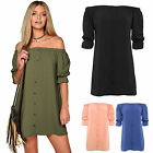 Womens Off Shoulder Short Sleeve Top Loose Blouse Shirt Mini Dress Size S-XL New