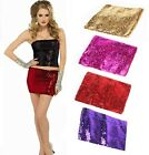 New 2 IN 1 Sexy Party Club wear Sequin Boob Tube top Dancer Sequined Mini Skirt