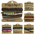 Womens Stacker Leather Bracelet Stacking Wide Multi Row Layer Stack Wristband