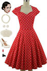 RED Polka Dot Soubrette Brunette 50s Style Sweetheart Neckline Pinup Dress
