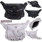 LADIES FAUX LEATHER FRINGE TASSEL HOLIDAY FESTIVAL BUMBAG FANNY PACK POUCH