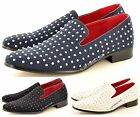 Mens Leather Lined Studded Slip On Loafers Shoes Black Navy White UK Size 6-12