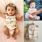 Newborn Baby Girls Clothes Flower Backless Romper Jumpsuit Bodysuit Sunsuit 0-3T