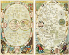 Set of 2 1686 Map of the World Blome Astronomy Cosmography Geography Art Reprint