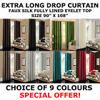 "Extra Long Drop Curtain 90"" x 108"" inch Faux Silk Fully Lined Eyelet Curtain"
