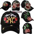NEUF FEMMES FLORAL ROSE YANKEE NEW YORK SEQUIN CASQUETTES BRODÉES