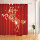 """71"""" Waterproof Polyester Fabric Shower Curtain Bathroom Red background and horse"""