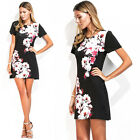 Multicolor Casual Short Sleeve Summer Floral Round Neck Dress Women New