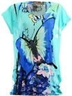 T-shirt tunic printed butterflies strass - THANIA - TURQUOISE TURQUOISE